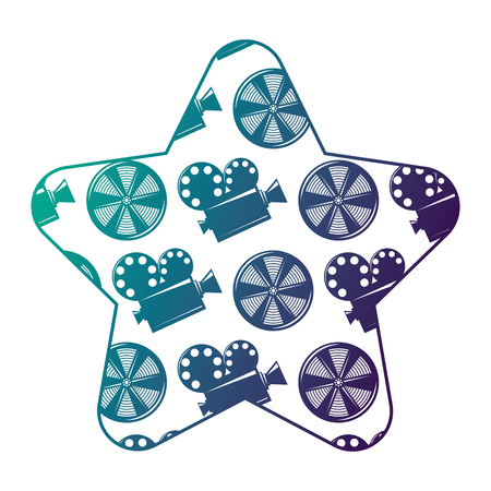 Label star with movie camera projector and reel film vector illustration degraded color design.