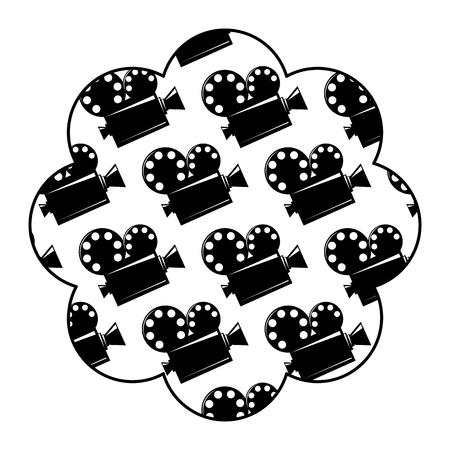Label with film cinema movie projector vector illustration. Illustration
