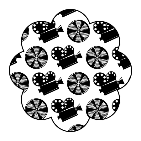 label with movie camera projector and reel film vector illustration