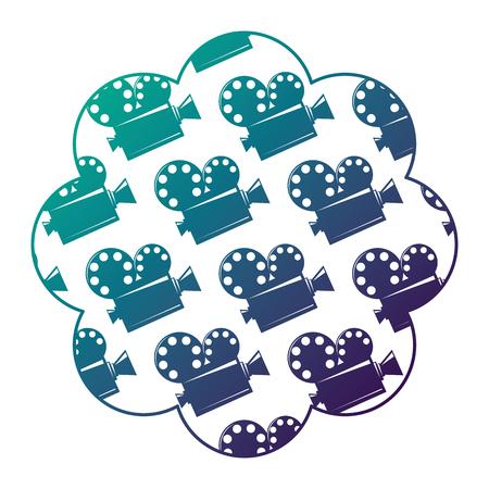 label with film cinema movie projector vector illustration degraded color design