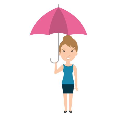Cute woman with umbrella vector illustration design