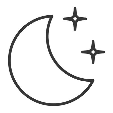 Een halve maan met ontwerp van de sterren het vectorillustratie