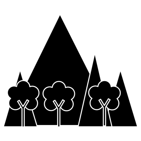 산악 풍경 현장 아이콘 벡터 일러스트 디자인 일러스트