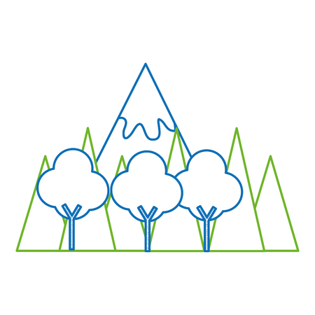 mountainous landscape scene icon vector illustration design