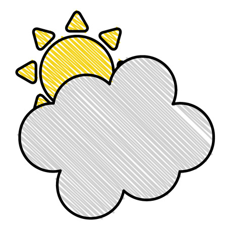 Summer sun with clouds vector illustration design.