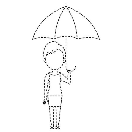 cute woman with umbrella vector illustration design Illustration