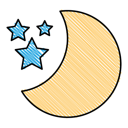 Half moon with stars vector illustration design