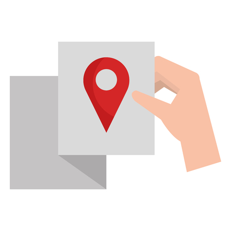 hand with paper and pin location vector illustration design