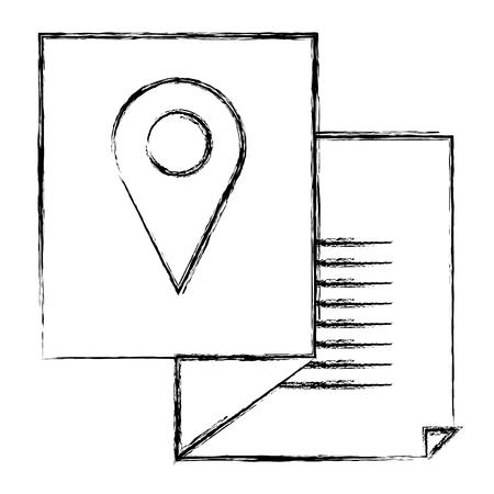 paper with pin location vector illustration design Ilustração