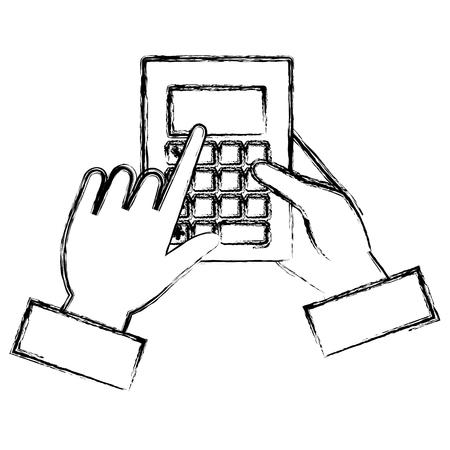 손으로 계산기 수학 격리 된 아이콘 벡터 일러스트 레이 션 디자인 스톡 콘텐츠 - 94580372