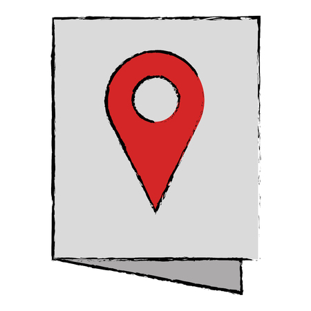 Paper with pin location vector illustration design