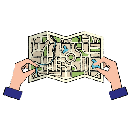 Hands with paper map guide icon vector illustration design Illustration