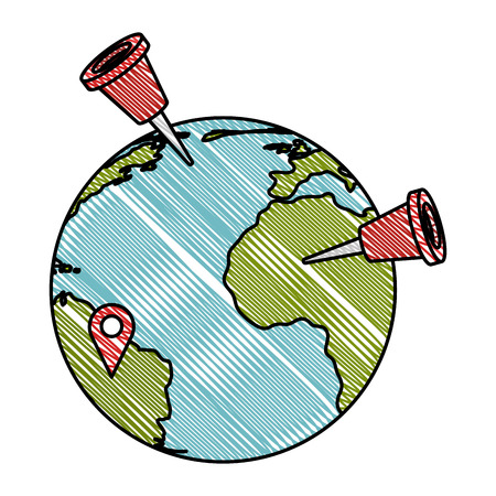 Earth planet with pins markers vector illustration design
