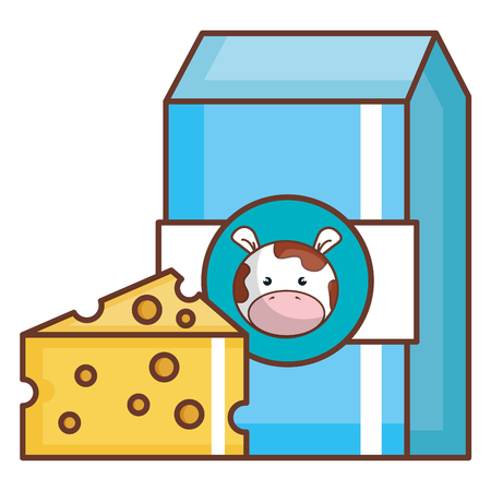 Milk box with cheese vector illustration design Illustration