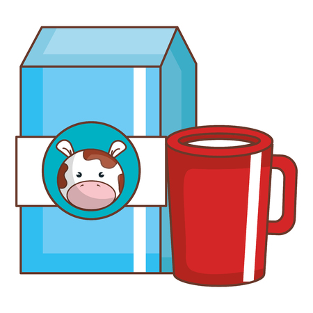 Coffee cup with milk box vector illustration design