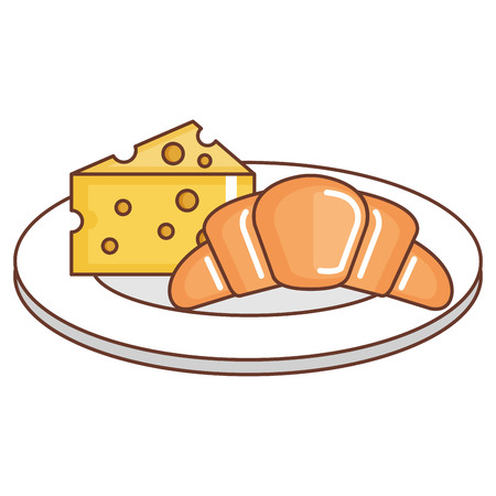 Delicious croissant bread with cheese vector illustration design Illustration