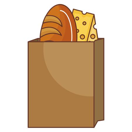 맛있는 빵과 치즈 벡터 일러스트 디자인 가방 일러스트