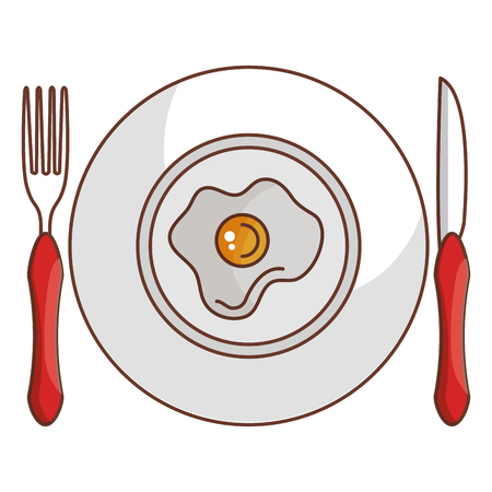 dish and cutlery with egg fried vector illustration design Stockfoto - 94583884