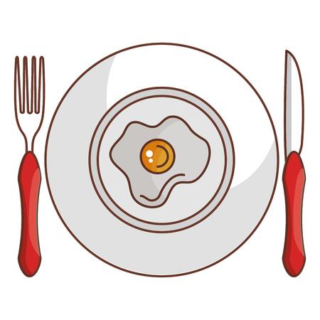 Schotel en bestek met ei gebakken vector illustratie ontwerp Stockfoto - 94583884