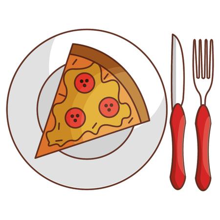 Schotel en bestek met ontwerp van de pizza het vectorillustratie Stock Illustratie