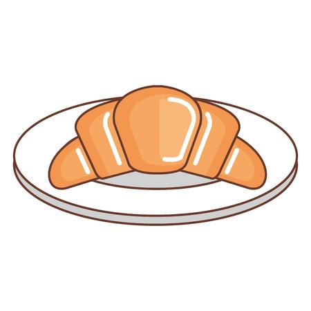 dish with delicious croissant bread icon vector illustration design Ilustração