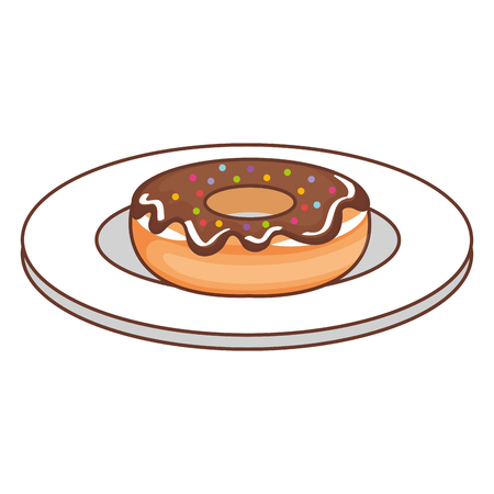 dish with sweet donut icon vector illustration design