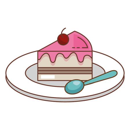 schotel met zoete cake en lepel vector illustratie ontwerp
