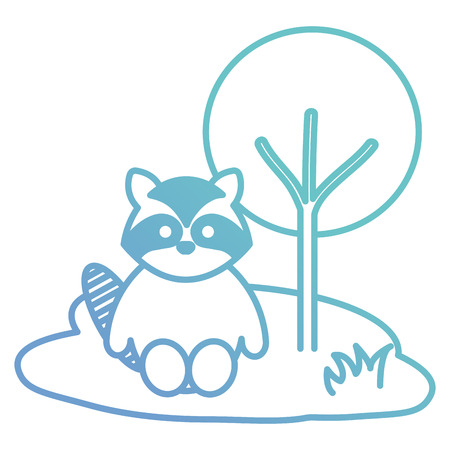 cute and tender raccoon in the camp character vector illustration design