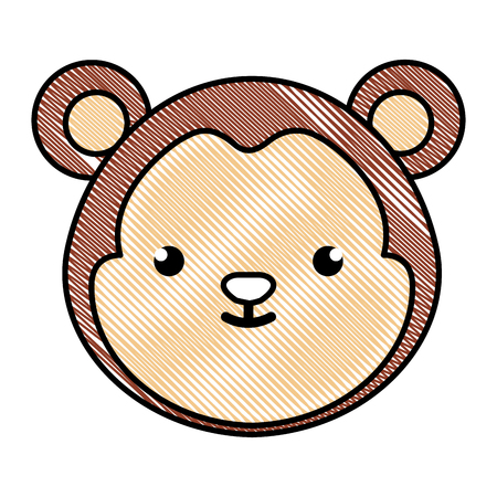 cute and tender monkey character head vector illustration design 일러스트