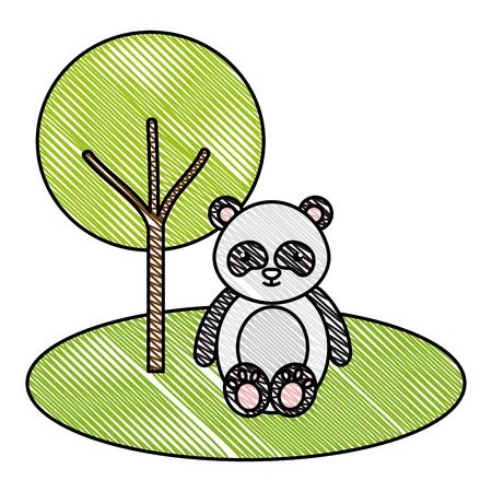cute and tender bear panda in the jungle character vector illustration design