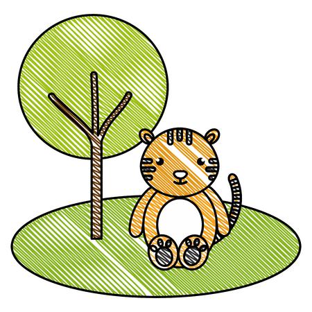 Tigre bonito e terno na selva personagem ilustração vetorial design Foto de archivo - 94604319