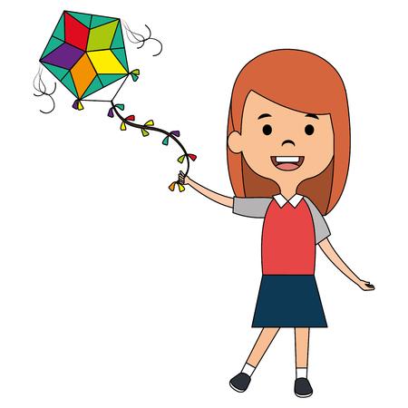 cute and little girl flying a kite vector illustration design Иллюстрация