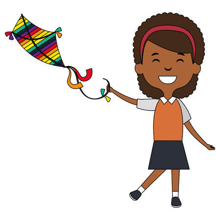 cute and little african girl flying a kite vector illustration design