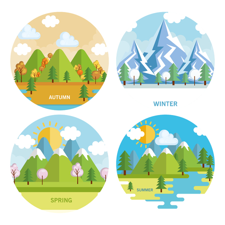 seasonal weather set landscapes vector illustration design