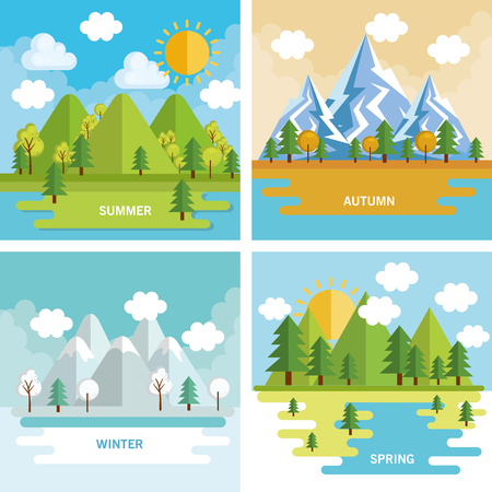 seasonal weather set landscapes vector illustration design