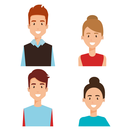 group of people avatars characters vector illustration design