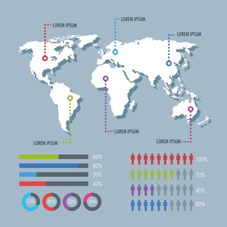world planet infographic icons vector illustration design