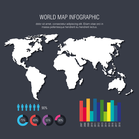 world planet infographic icons vector illustration design