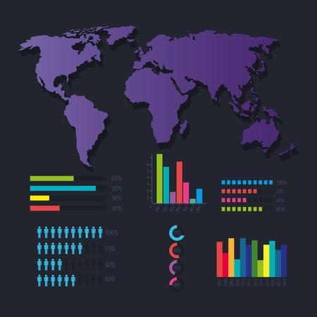 世界の惑星インフォグラフィックアイコンベクトルイラストデザイン  イラスト・ベクター素材