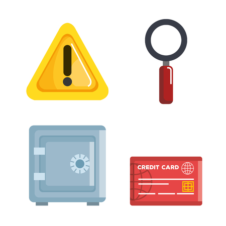 Theft identity set icons vector illustration design