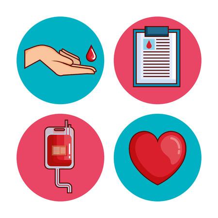 blood donation set icons vector illustration design