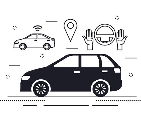 autonomous car set icons vector illustration design
