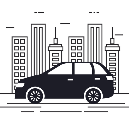 car vehicle in the cityscape vector illustration design