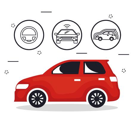 自律走行車セットアイコンベクトルイラストデザイン