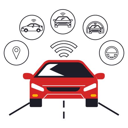 autonoom auto set iconen vector illustratie ontwerp