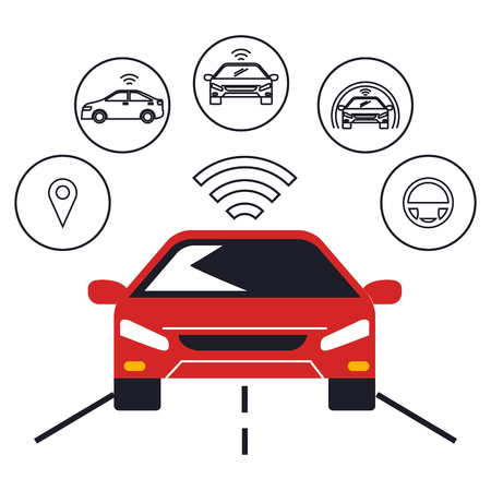 autonomous car set icons vector illustration design