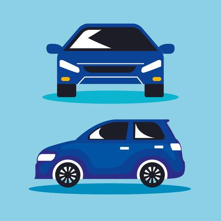 group of cars sedan icons vector illustration design Illustration
