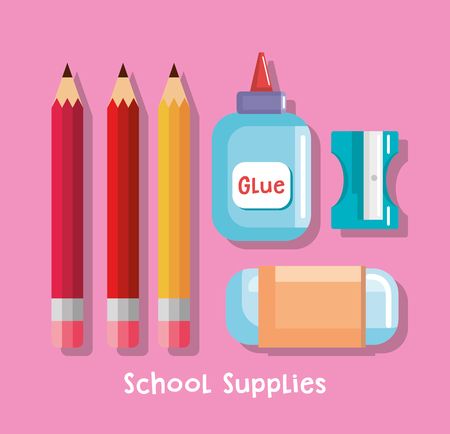 school supplies set icons vector illustration design
