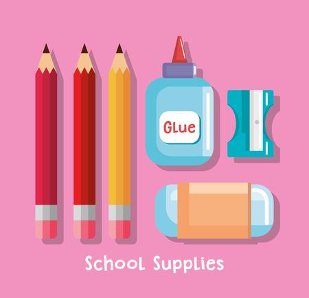 school supplies set icons vector illustration design