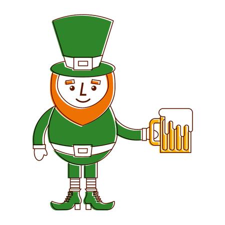 Personagem de leprechaun segurando a ilustração em vetor cerveja celebração Foto de archivo - 94693908